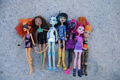 The girls insisted we post a photo of the assembled Monster High team.