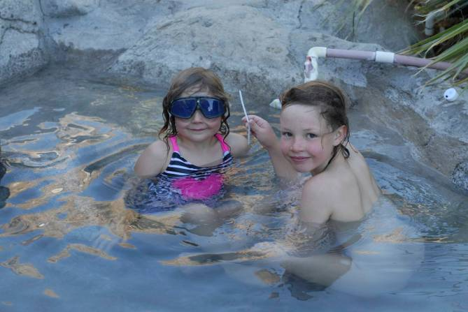 Making the most of the hot tub.