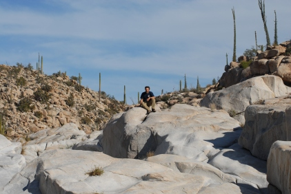 One of the dozens of granite shelfs that form a series of oasis pools.