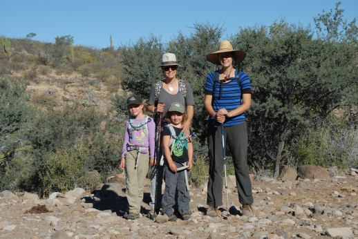 The ladies, all four of them, get ready to set off in search of Los Dolores, a hot spring, and if we're lucky, figs.