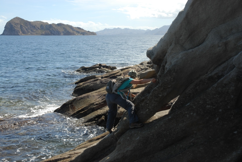 We overshot a little, and had to hustle to beat the tide back to camp. Sylvie seen here doing a little bouldering.