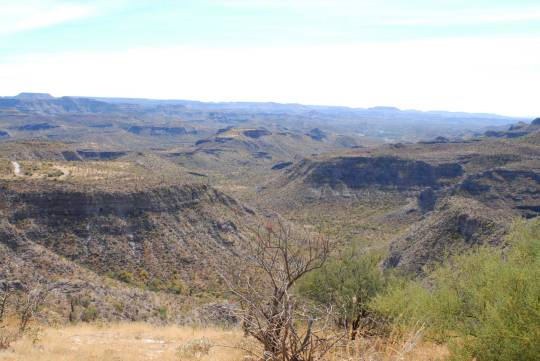 On the drive out of Los Dolores, a hell of a landscape greeted us around every turn and atop every mesa.