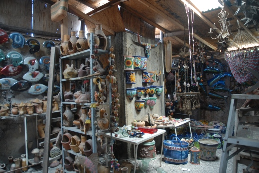 The interior of a little gift shop in Loreto, where we were acquired several key items, including Don Puerco, our good-luck dashboard pig, and a bottle opener.