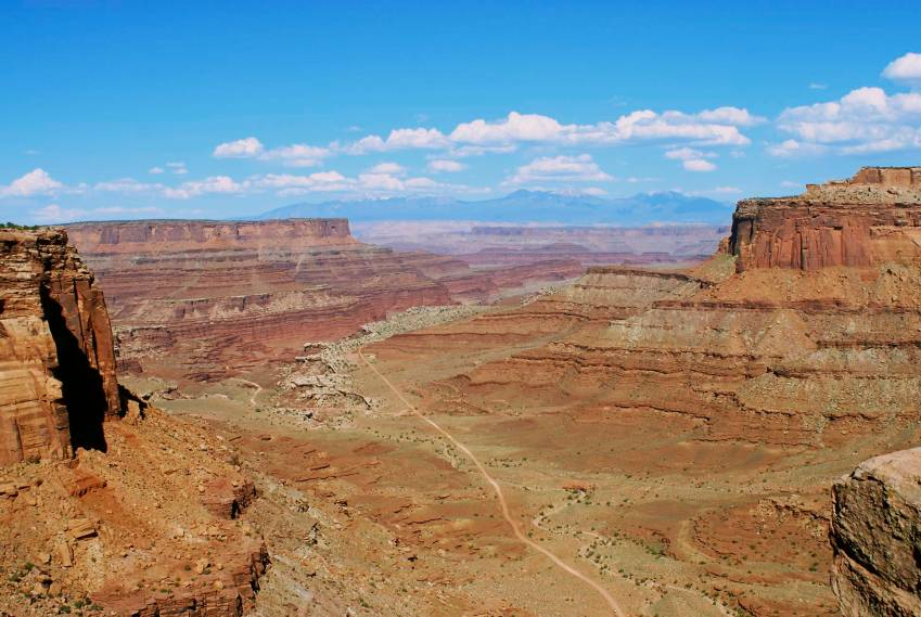 The White Rim Trail, as seen from the entrance to the trail, about a thousand feet above.