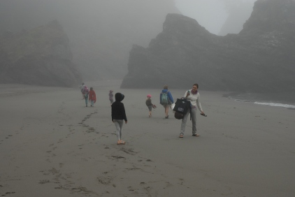 Stephanie seen here leading Team Mollusk toward the secret mussel beds of Oregon.