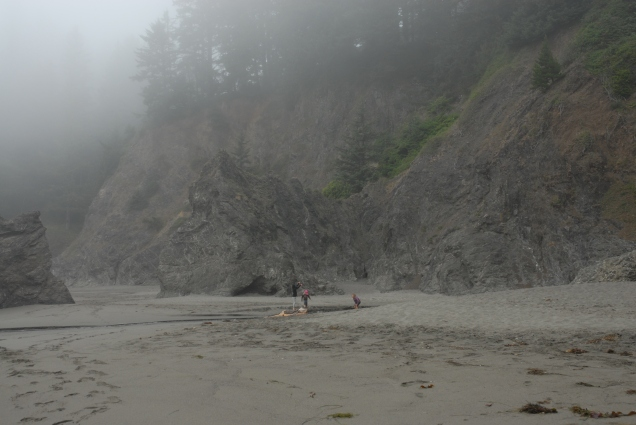 Girls ran off to explore, while we sat still and watched the fog eddy about the cliffs.